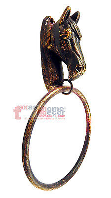 Rustic Western Horse Head Bust Towel Ring Cast Iron Bronze Finish Wall Mounted