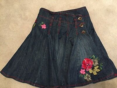 Next Girls Denim Skirt With Embroidered Flowers Age 4 Years
