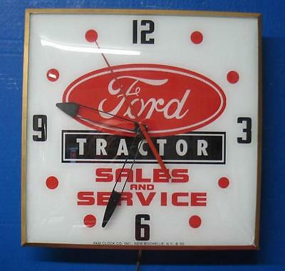 Vintage Pam Lighted Advertizing Clock Glass FORD TRACTOR SALES & SERVICE