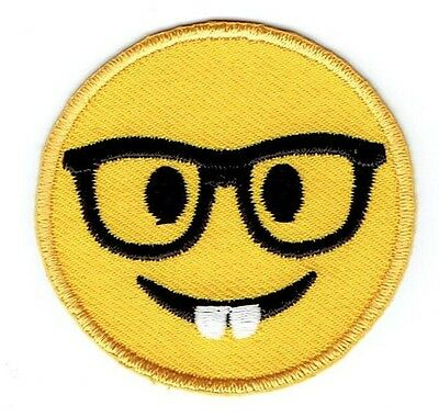 Iron On Embroidered Applique Patch - Smiley Face Emoji - Nerd with Glasses