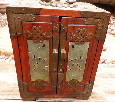 Antique Chinese Jewelry Box Wood, Carved Jade, Brass - Dovetailed 4 Drawer Chest