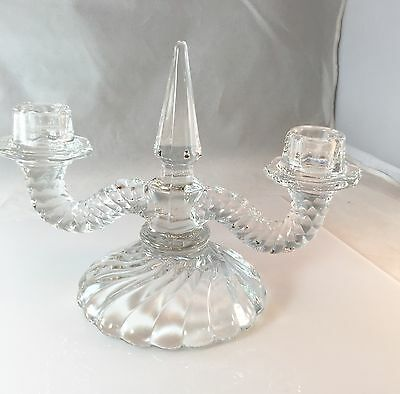 "Fostoria Old Colony Double Crystal Handle Holder 6"" H x 8.25"" W Swirl Base Spire"