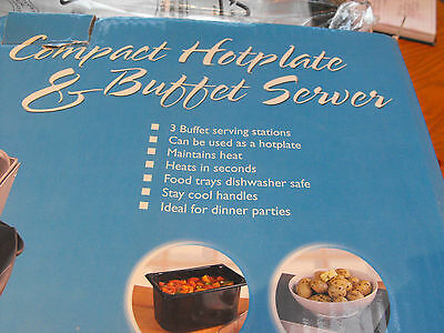 Compact hot plate & buffet server, 3 dishes, by Signature  NEW