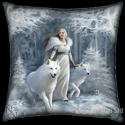 *WINTER GUARDIANS* Fantasy White Wolf Maiden Art Cushion By Anne Stokes