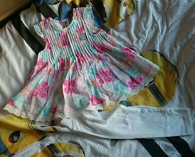 baby girl 2x dresses and leggings size 12-18 months one new