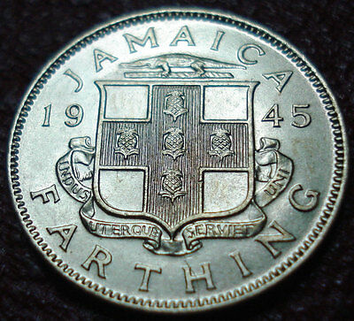 1945 Jamaica Farthing In Au-Uncirculated Condition
