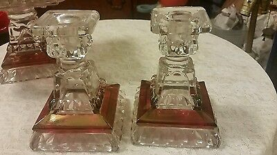 Pair Vtg Westmoreland Glass Ruby Red Flash Stain Candle Stick Holders