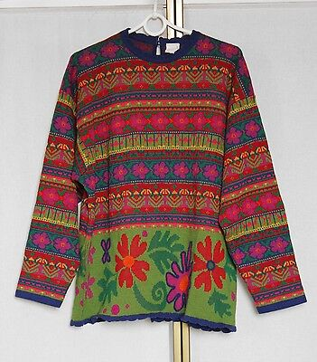 Vintage Oilily Aztec Country Pattern Knit Wool Blend Sweater Jumper L