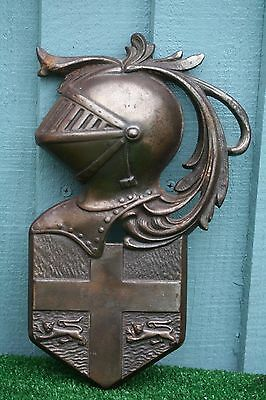 SUPERB BANKSWAY CAST IRON, COPPER FINISH WALL PLAQUE OF KNIGHTS HELMET c1920/30s