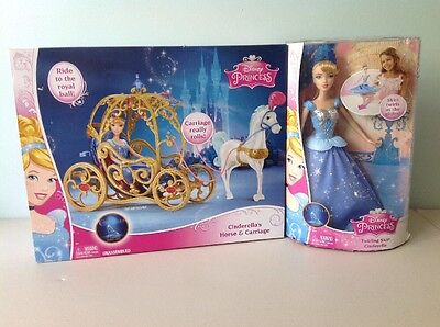 New Disney Princess Cinderella Horse & Carriage & Twirling Skirt Cinderella Doll