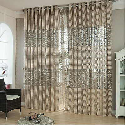 Ring Top Fully Lined Pair Eyelet Leaf Tulle Curtains Drape Panel Sheer Scarf New