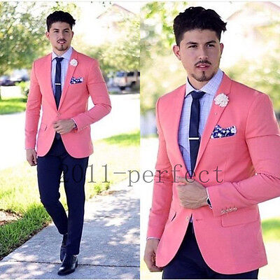 Men's Slim Pink Wedding Suits Groom Tuxedos Groomsmen Formal Suit Jacket+Pants