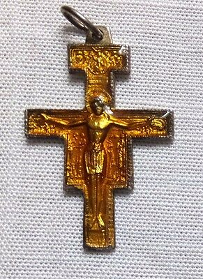 St Francis Assisi San Damiano Amber Enamel Cross / Crucifix/pendant