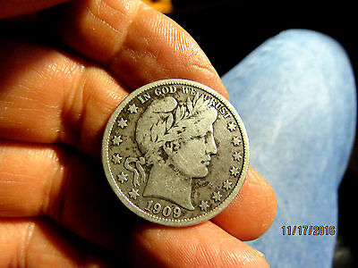 Better Date 1909-S Barber Half Dollar Nice F+ Coin
