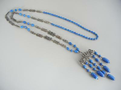 "Vtg Art Deco 25"" Sautoir Necklace Glass Lapis Silver Plate Converts to Pin Italy"