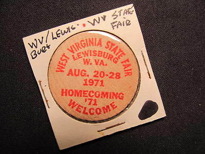 1971 Lewisburg, West Virginia Wooden Nickel token - WV State Fair 71 Wooden Coin