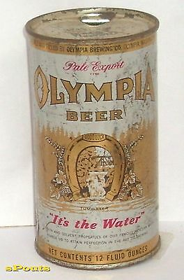 1957 Olympia Pale Export Flat Top Beer Can Washington State Horse Shoe Waterfall