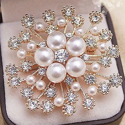 Women Wedding Austrian Crystal Snowflake Pearl Brooches and Pins Scarf Brooch