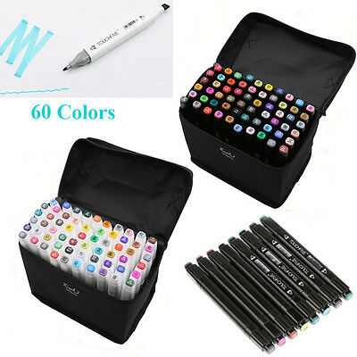 60 Colors Artist Twin Tip Sketch Markers Set For School Drawing Sketch New