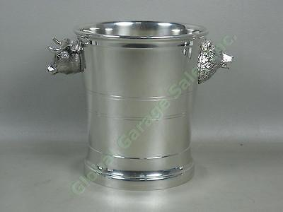 NEW Four Points Shirley Pewter Bull + Bear Head Wall Street Champagne Ice Bucket