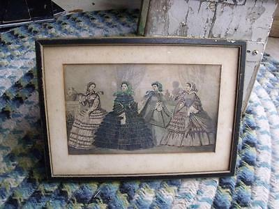 Antique Framed Victorian Ladies Fashion Hand Colored Print Kodaks Novelties