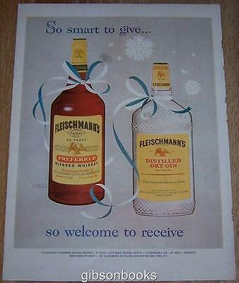 1957 Fleischmann's Whiskey and Gin Life Magazine Color Christmas Advertisement