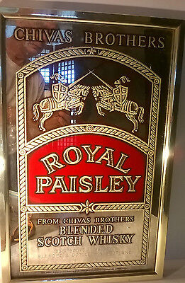 Rare Chivas Brothers Royal Paisley Blended Scotch Whiskey Wall Mirror Sign
