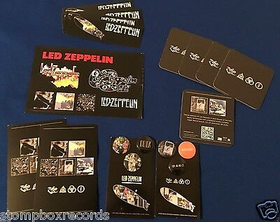 LOT Led Zeppelin REMASTERS PROMO PIN/BUTTON SET sticker sheet coasters postcard
