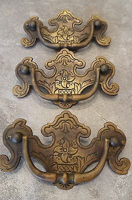 Vintage Set of 3 Brass Colonial Chippendale Batwing Drawer Pulls w/ Design!!