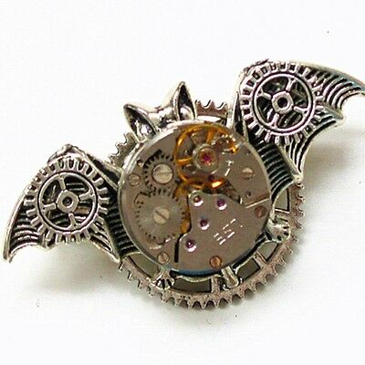 foryou steampunk pendant necklace brooch pin bat watch parts movement gear SP392
