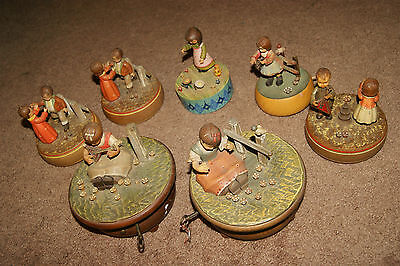 Lot Of 7 Vintage Anri Wooden Carved Music Boxes NEED RESTORATION