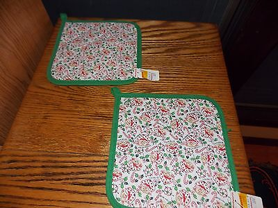 Christmas Pot Holder Pair Holly Hobbie Candy Cane 1981 Original Woolworth Tags