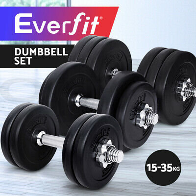 Dumbbell Set Everfit Weight Dumbbells Plates Home Gym Fitness Exercise Adjust