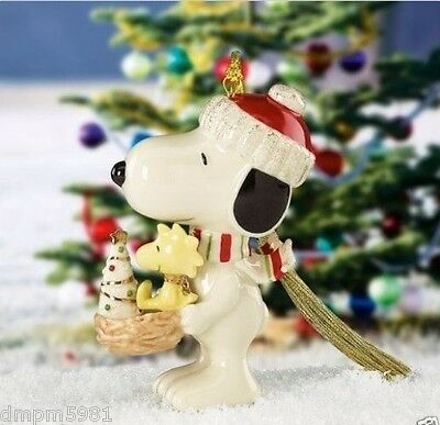 Lenox Peanuts Snoopy's Holiday Nest with Woodstock Ornament NEW IN BOX
