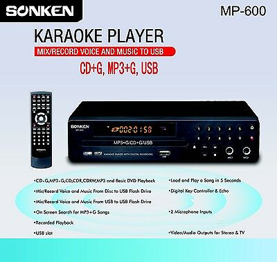 Cd+G/mp3+G Karaoke Player With Voice And Music Record