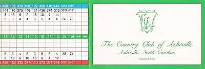 One New Golf Scorecard From THE COUNTRY CLUB OF ASHEVILLE, North Carolina