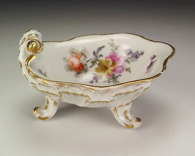 Antique KPM Berlin China - Hand Painted Flowers Footed Shell Formed Salt