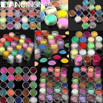 120 Colors Glitter Gems Bead Acrylic Powder UV Gel Nail Art Decoration DIY Set