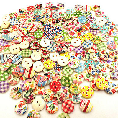100X Mixed Round Wooden 2 Holes Button For Craft Diy Sewing Scrapbooking Comely