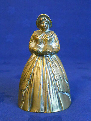 Superb Antique Brass Lady Bell - Lady Reading A Book.