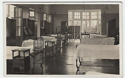 A DORMITORY - Beds  - School or Sanitorium ? - c1920s era Rral Photo postcard