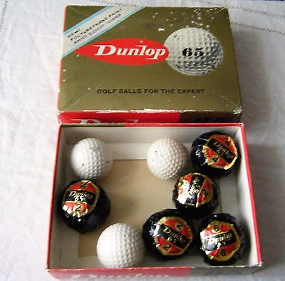 Vintage Dunlop 65 Golf Balls, 5 Unused/new, 3 Used, In Box