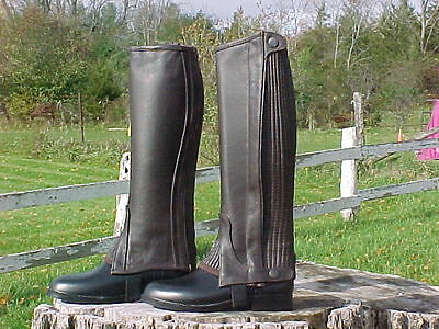 Ladies Leather Half Chaps Zipper Gussets Brown Small