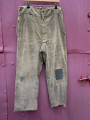 Vintage French Corduroy Patched  Work Chore Trousers Le Picard Amiens Workwear