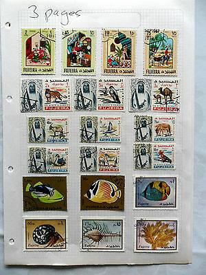 Fujeira - UEA - 3 Album page selection of used stamps (1416)
