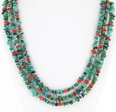 Authentic 3 Strand Navajo Silver Kingman & Nevada Turquoise-Coral Necklace 15996
