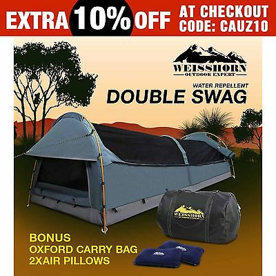 Weisshorn Double Canvas Swag Camping Swags Tent Deluxe Aluminum Poles & Bag