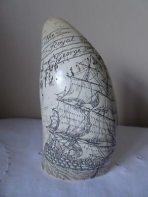 Faux Scrimshaw Whale Tooth The Royal George, King George III, Quiberon Bay 1759