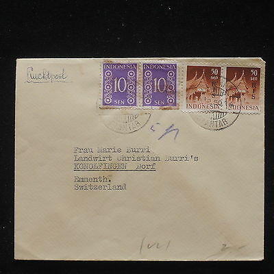 U/l340 - Indonesia: 1950 - Fine Cover - Monuments - From Siantar To Switzerland