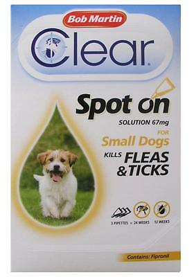 Bob Martin Flea Clear For Small Dogs Spot On 3 treatments. Contains Fipronil